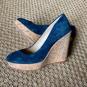 Vince Camuto Faran Blue Suede Leather Cork Wedges